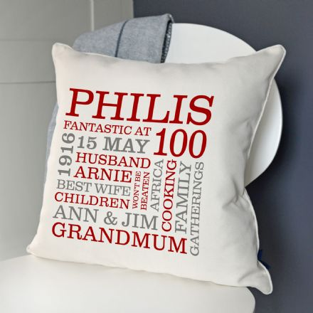 Personalised 100th Birthday Word Art Cushion
